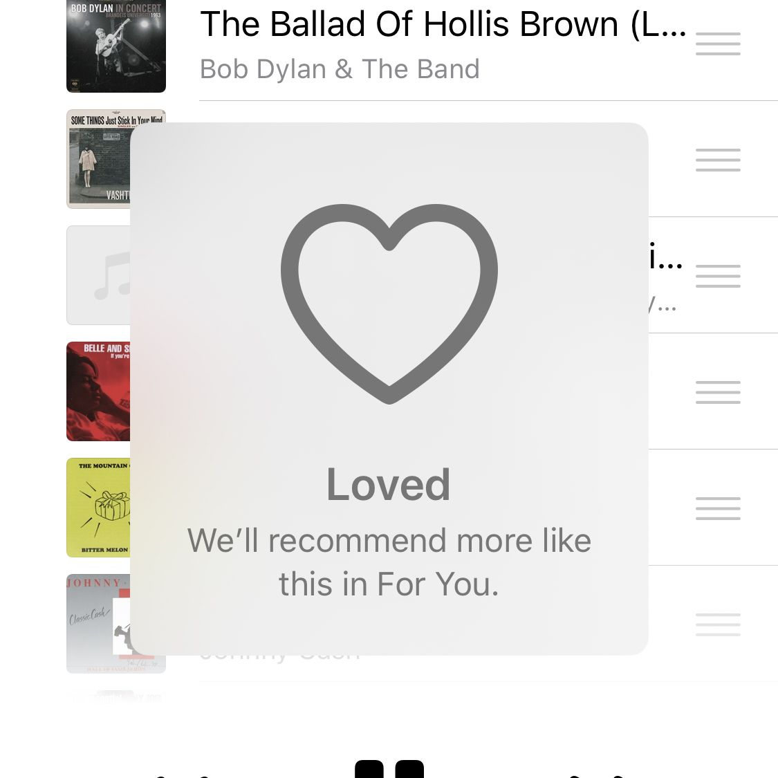 Screenshot of the Music app with a Loved song