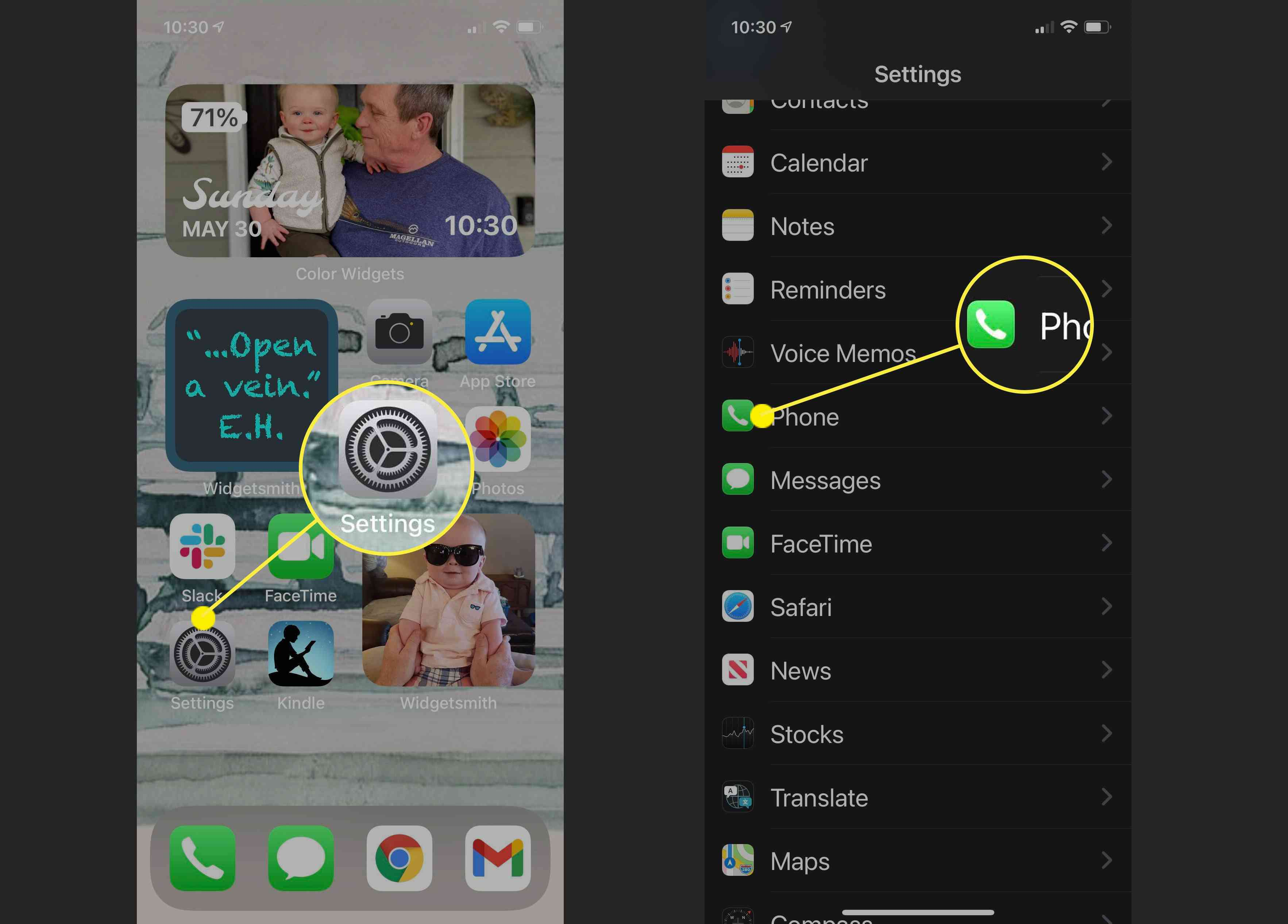 Screenshots showing how to get to Phone Settings on iPhone.