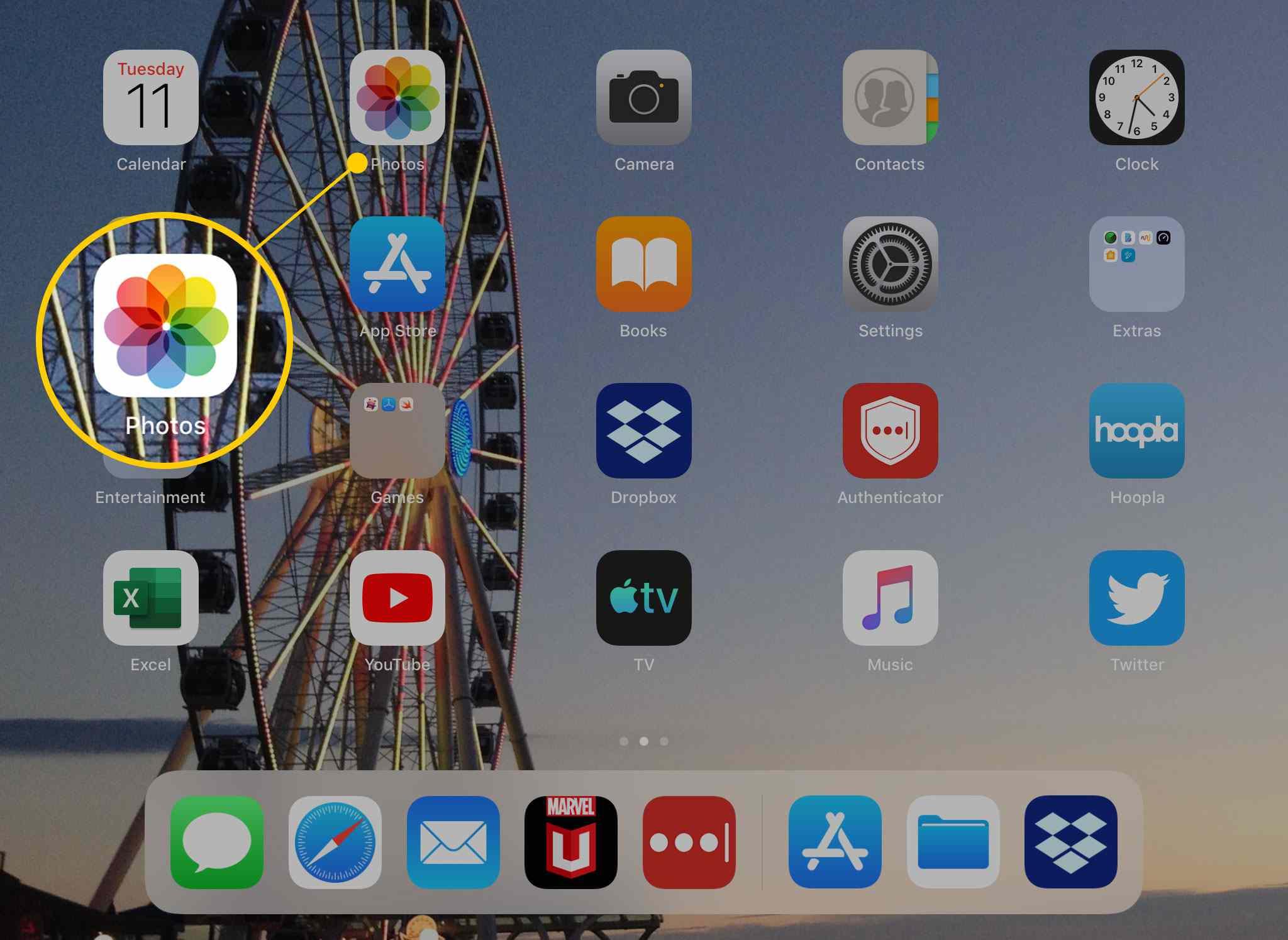 The Photos app on iPad