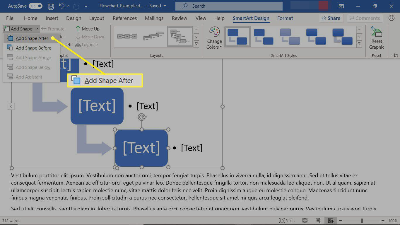 Add shapes to a SmartArt graphic flowchart in Word