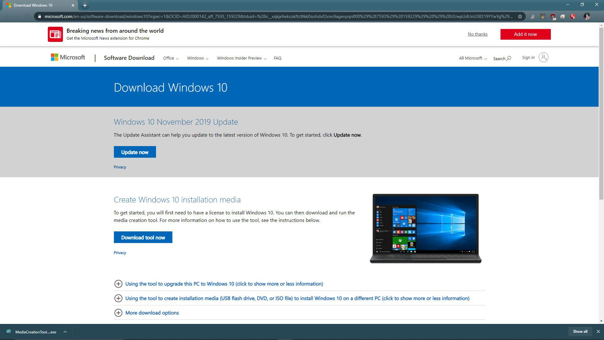 A screenshot of the Windows 10 download site.