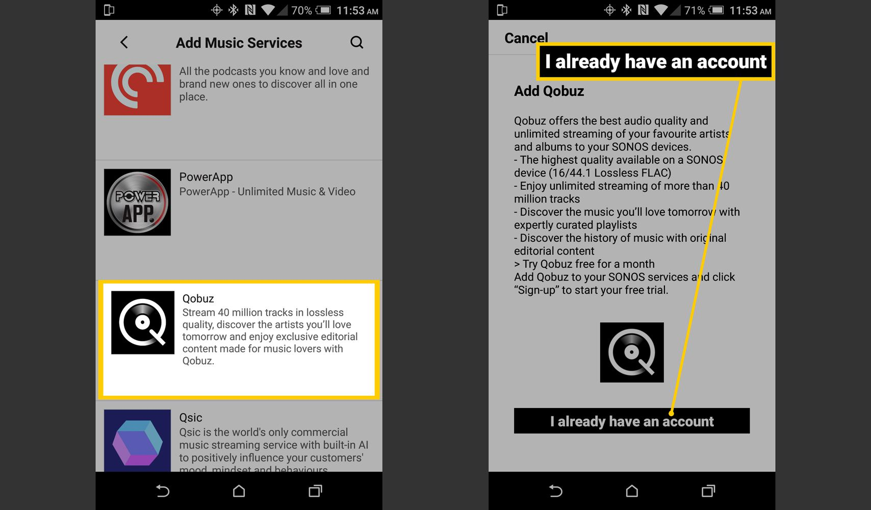 Sonos App – Select and Add Qobuz