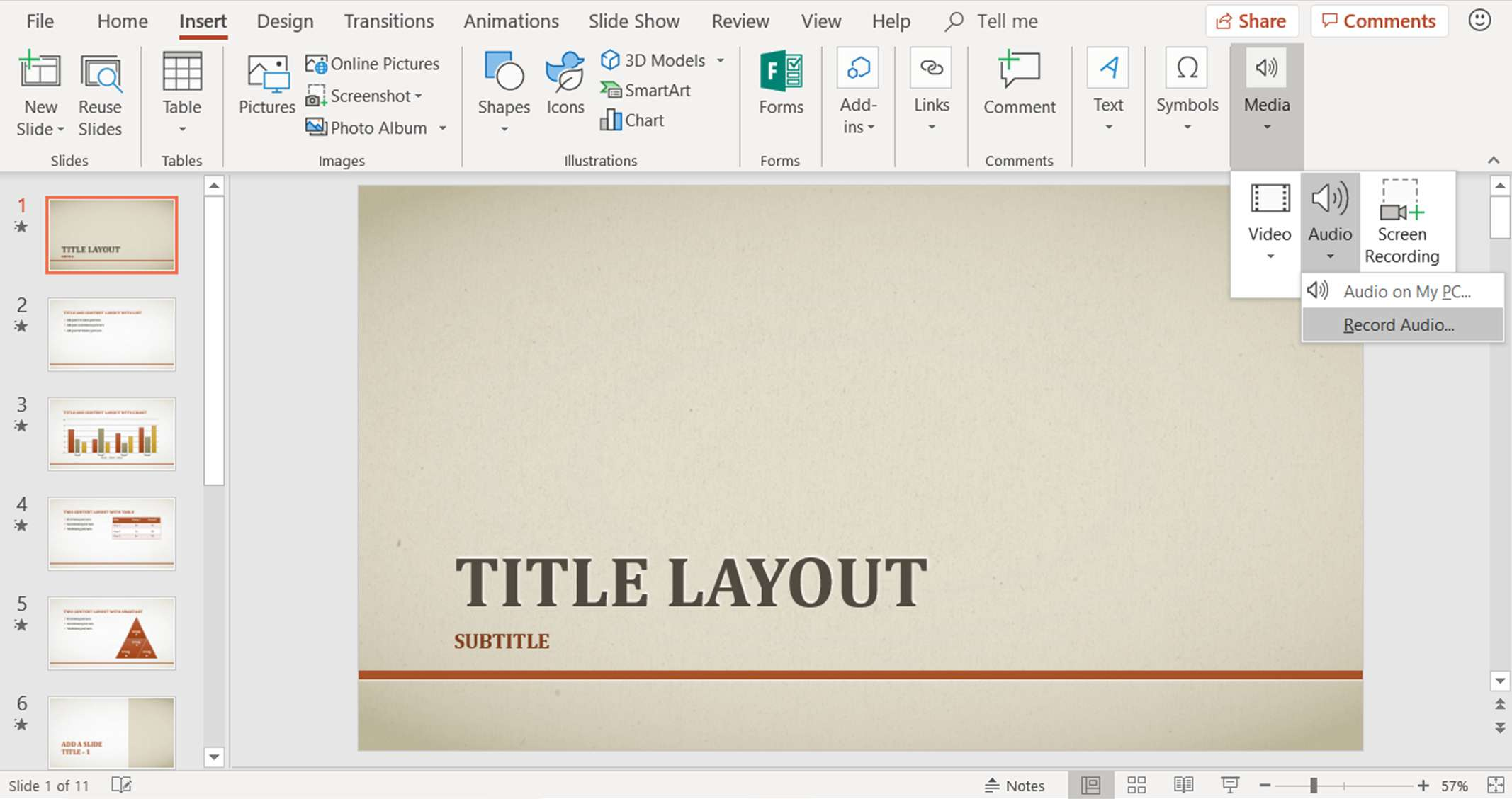 A screenshot showing how to add audio to PowerPoint slides