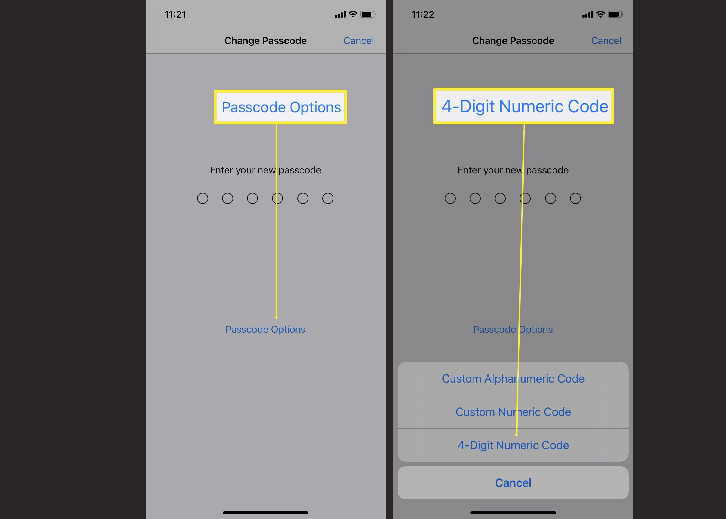 Steps required to change passcode on iPhone to a 4-digit numeric code