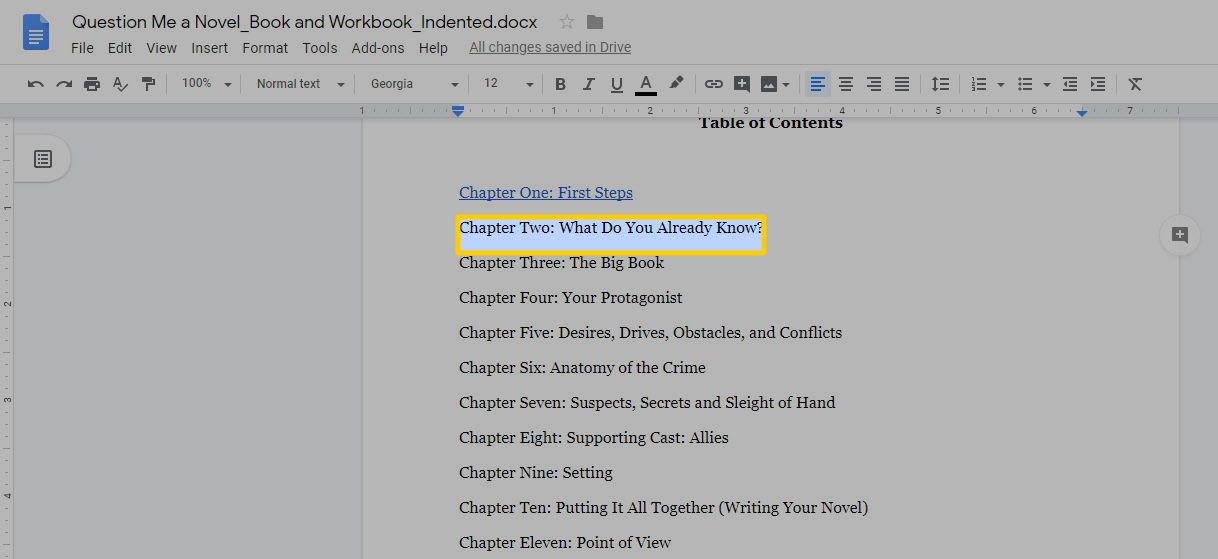 Highlighted text in Google Docs