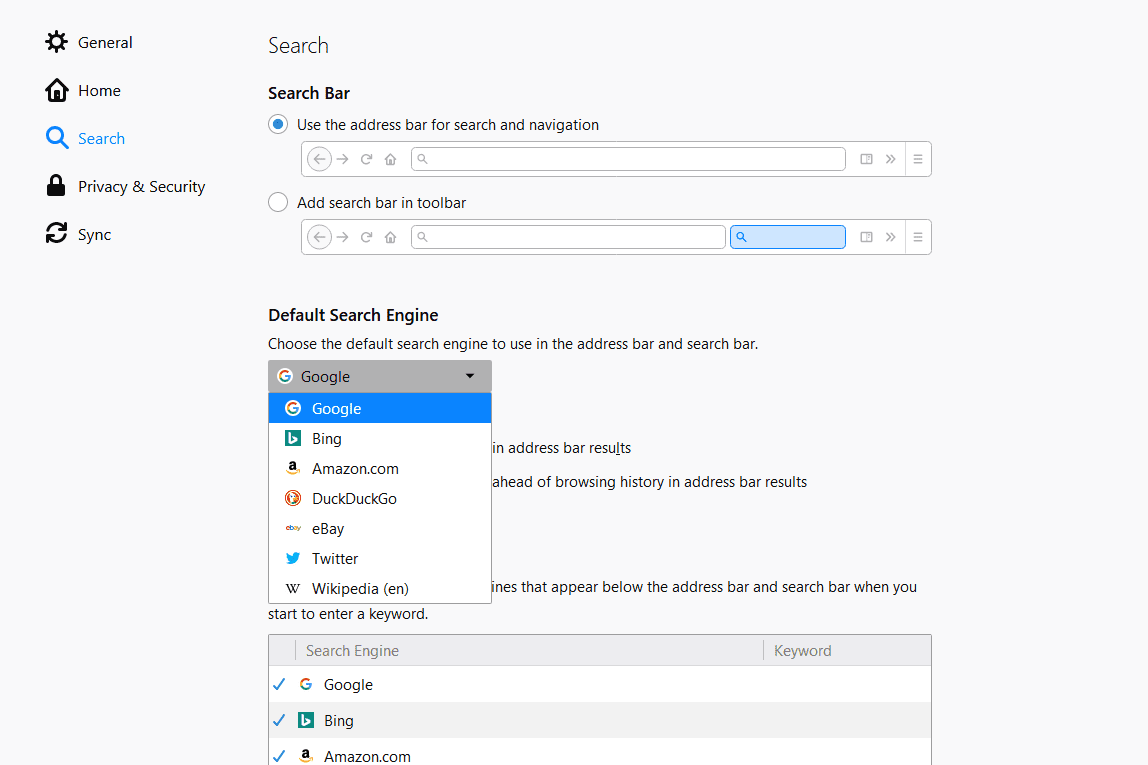 Default search engine option in Firefox