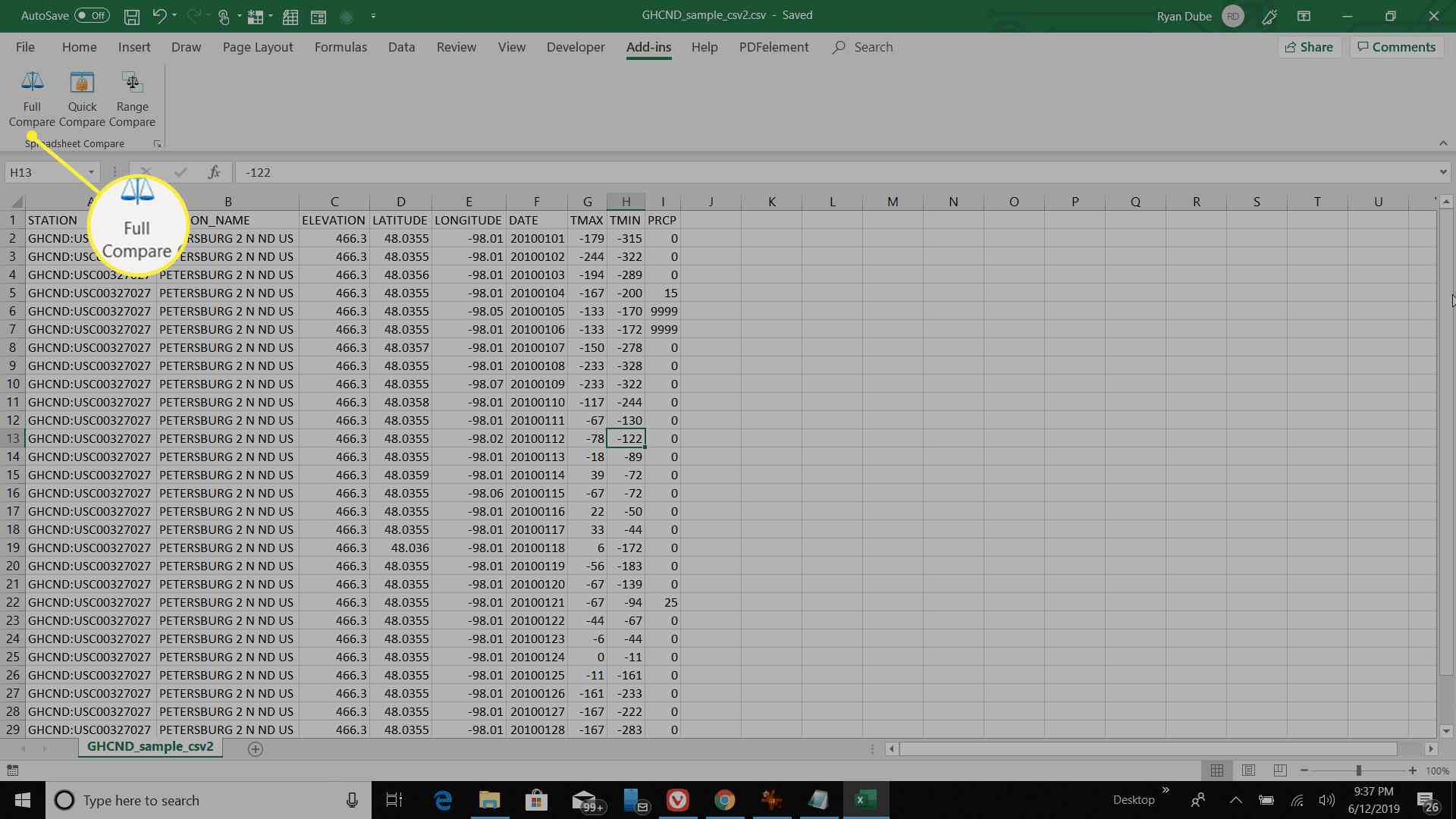 Excel showing Full Compare option