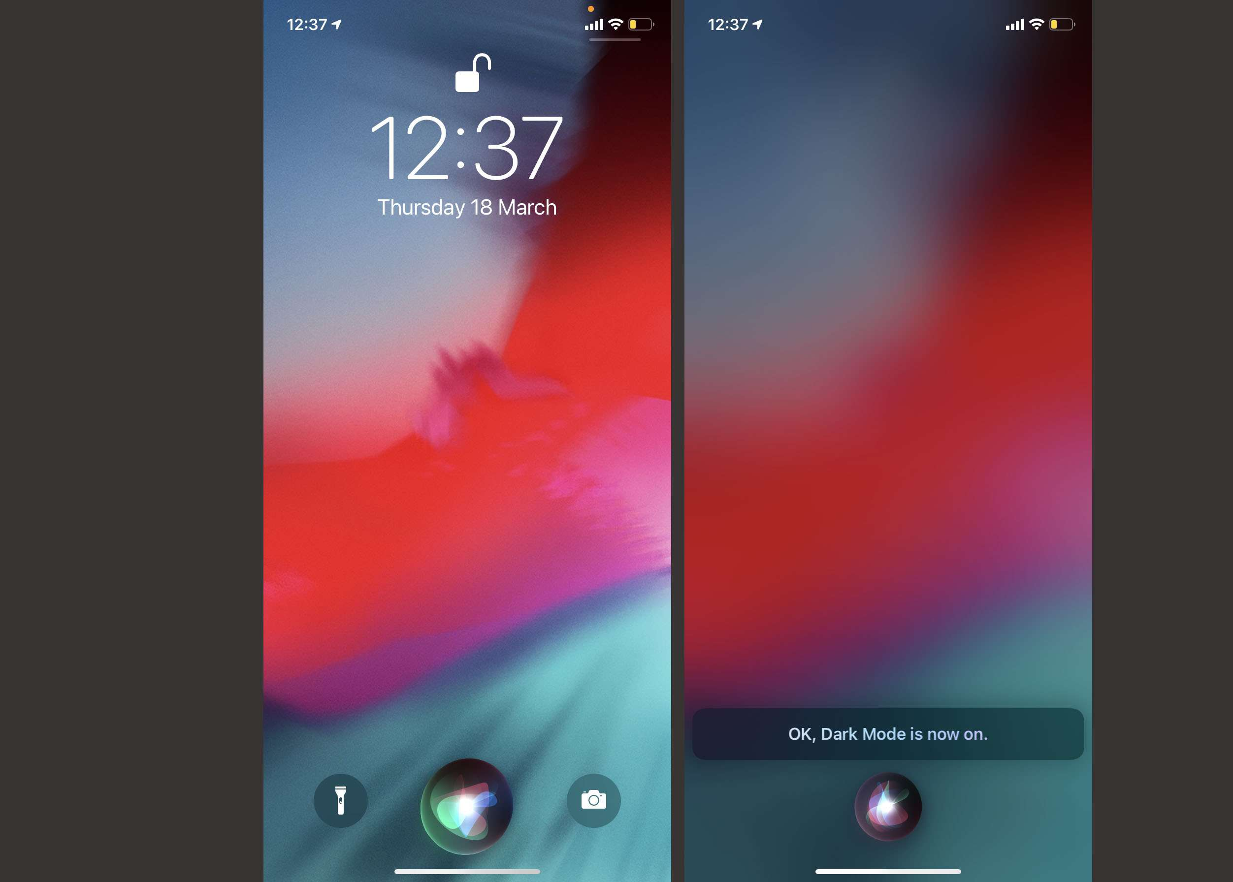 Steps needed to talk to Siri to switch Dark Mode on
