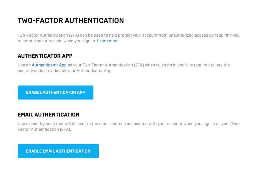 Two factor authentication options