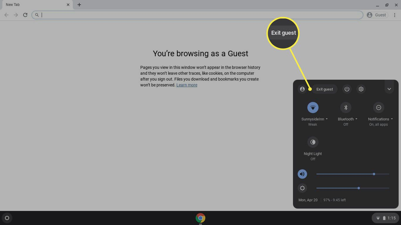 To end the guest session, select the clock in the Chromebook shelf, then select Exit guest.