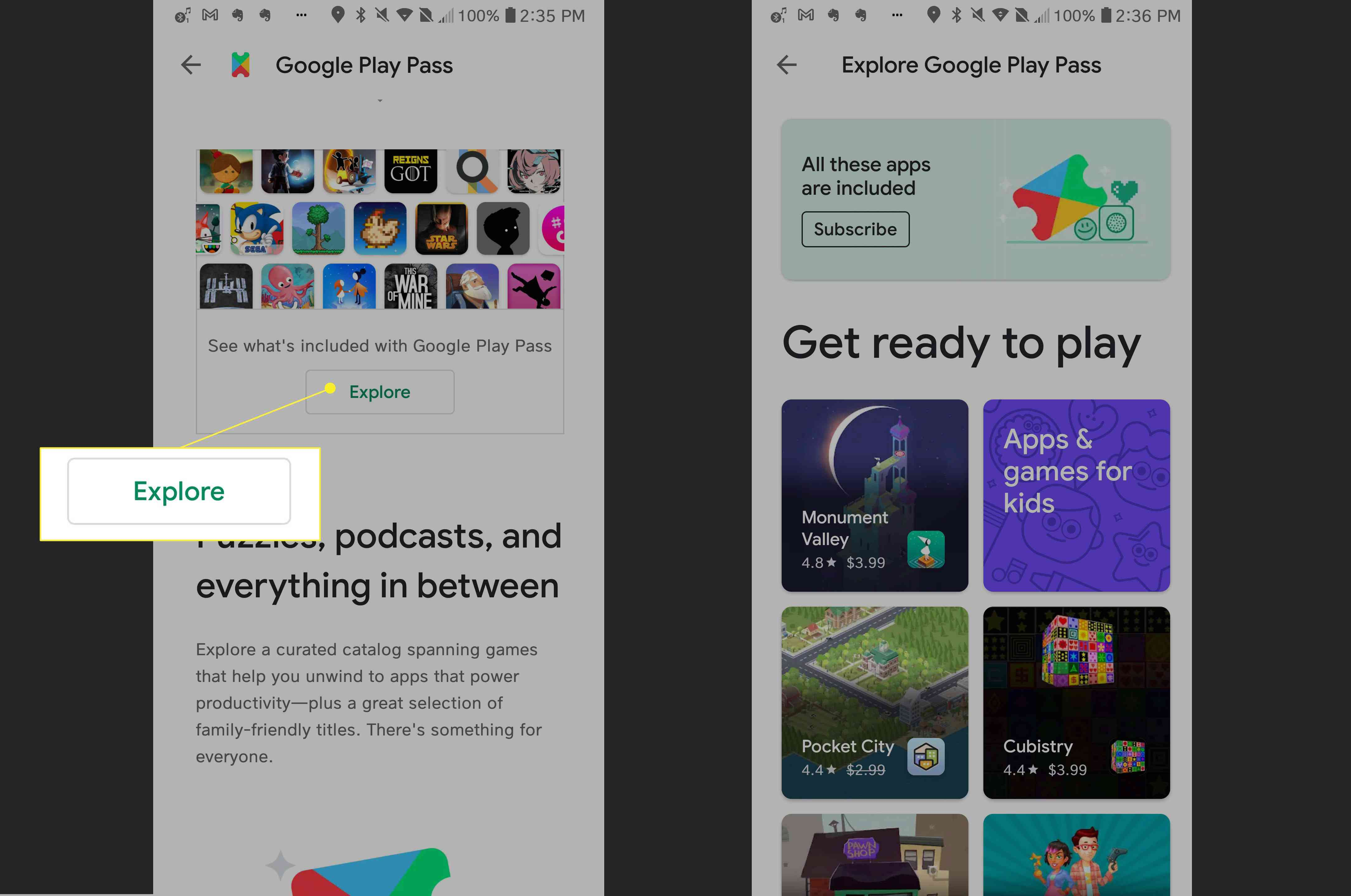 Google Play Pass > Explore