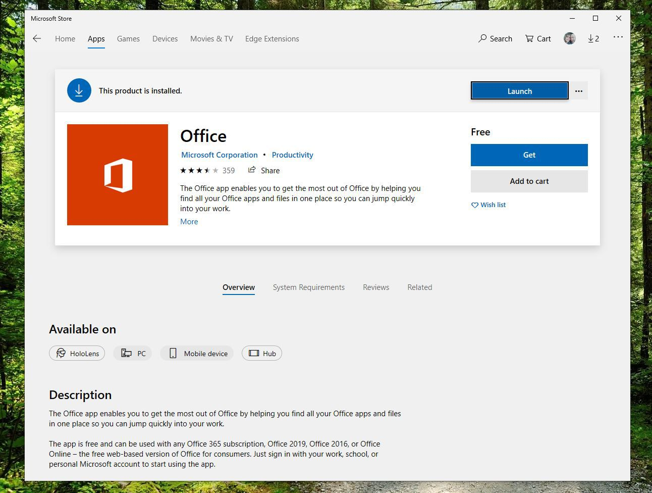 Screenshot of Get button on Office app in Microsoft Store