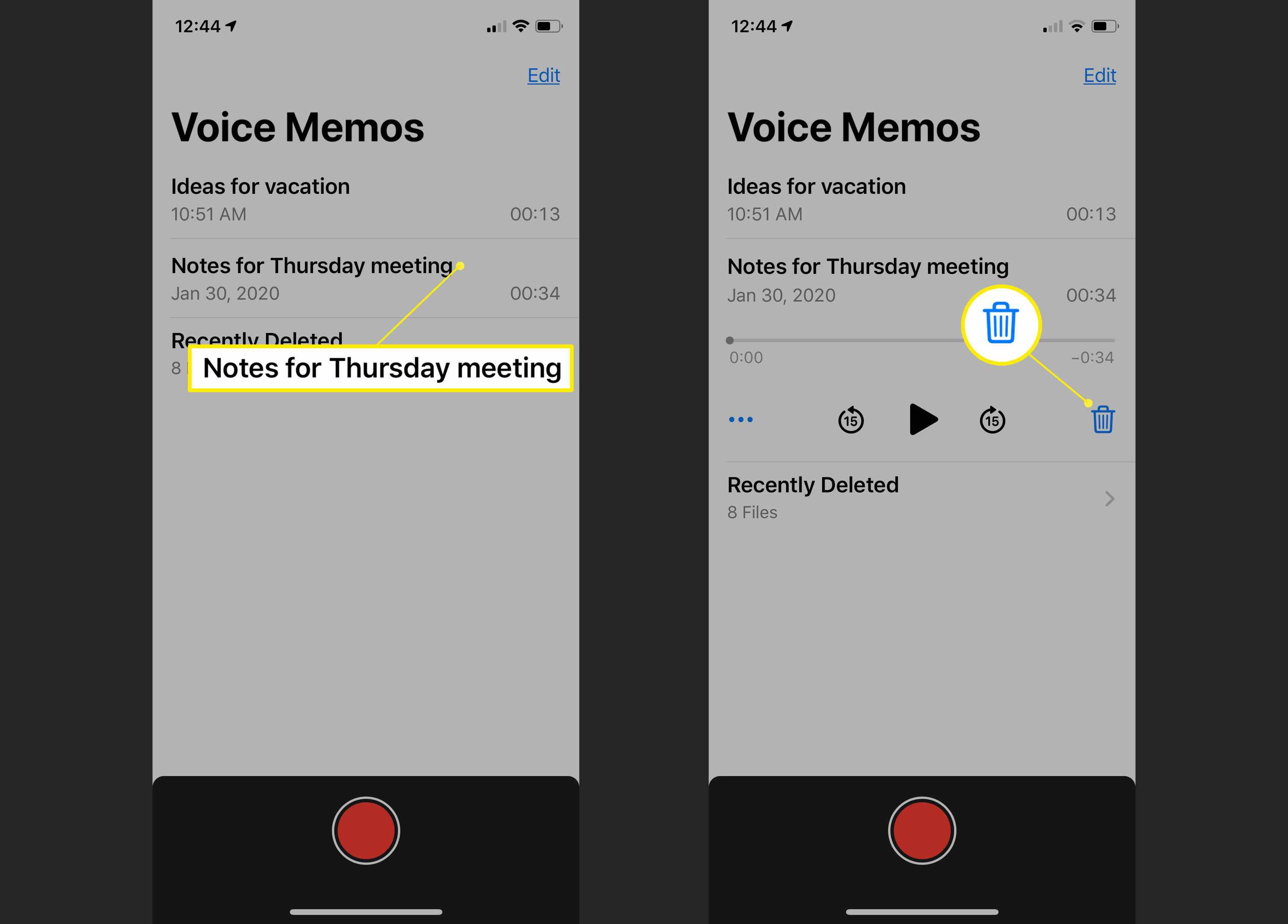 Voice Memos app showing the deletion process