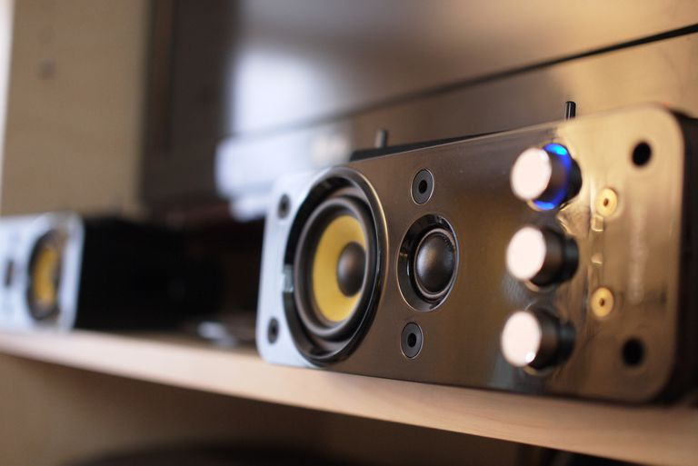 Close up of home theater speakers