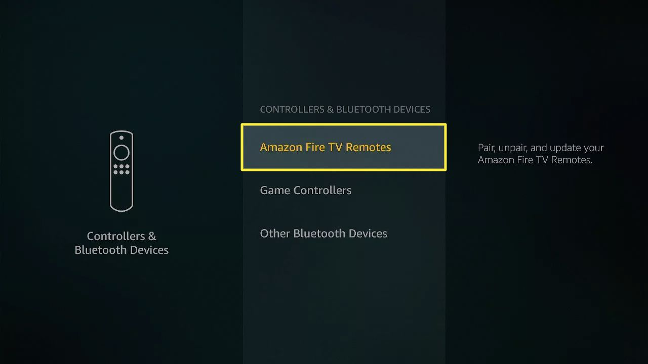 Amazon Fire TV Remotes highlighted in Fire Stick settings.