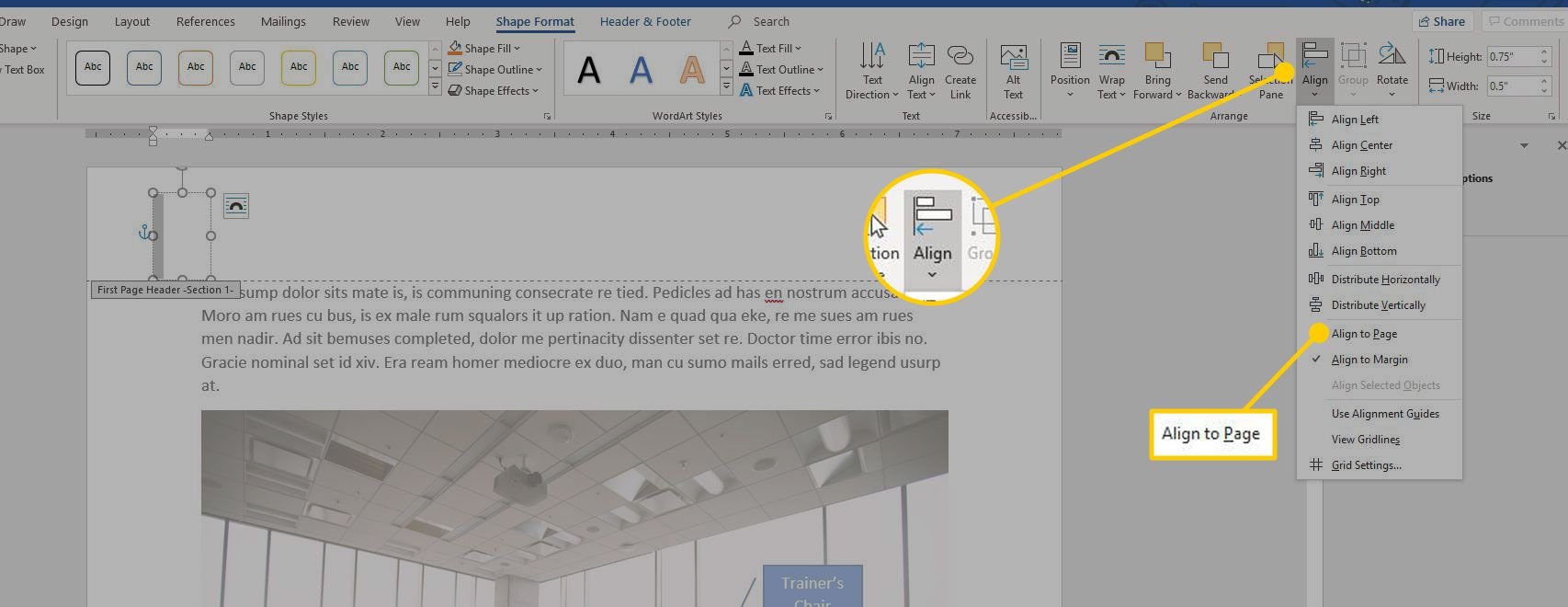 Align heading in Word with the Align to Page option highlighted