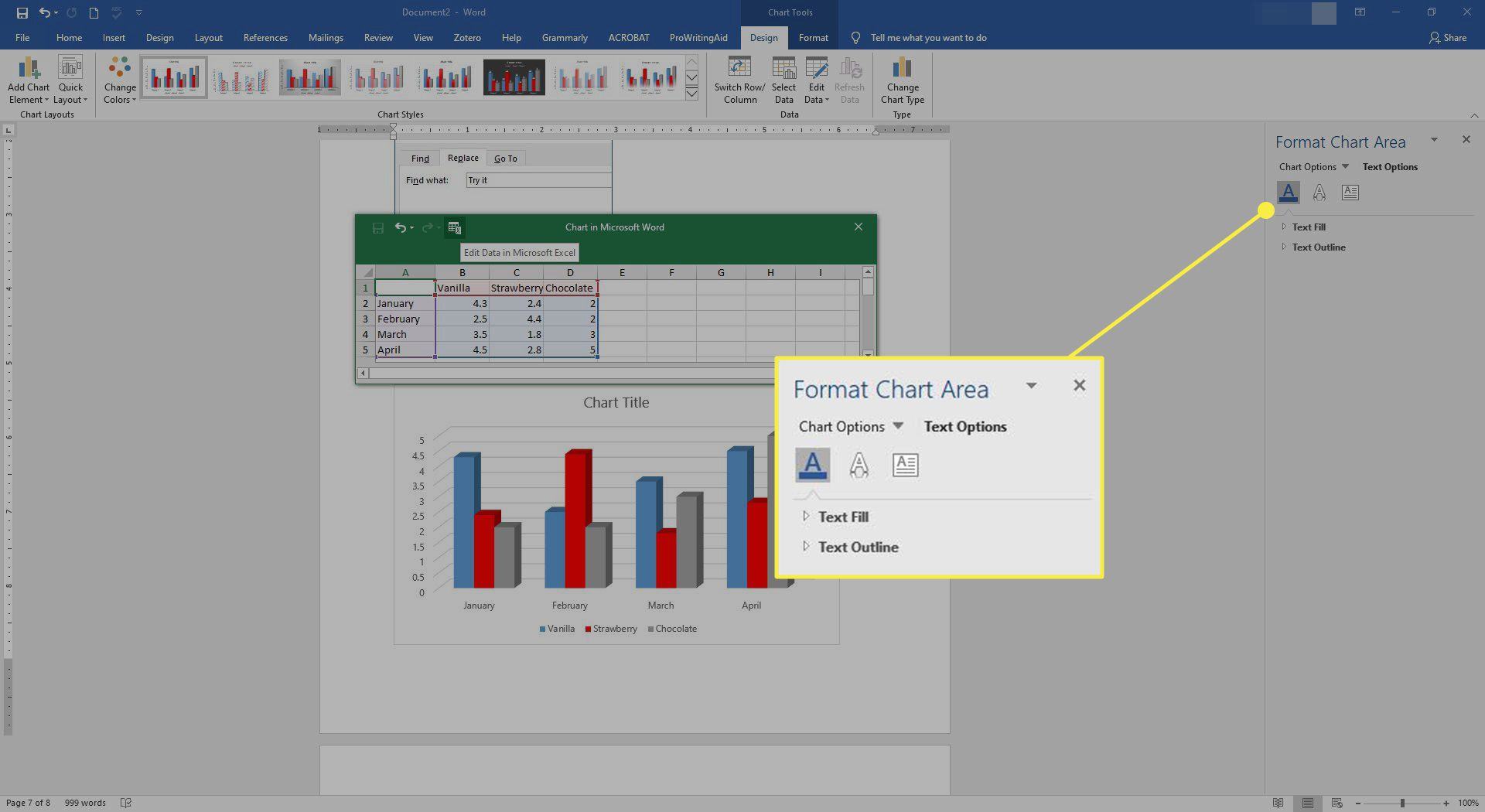 The Format Chart tools in Word