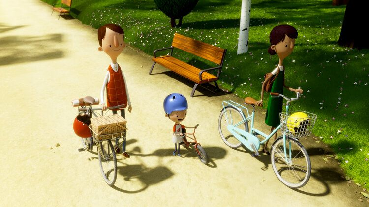 A family goes for a bike ride in 'Here We are: Notes for Living on Planet Earth'
