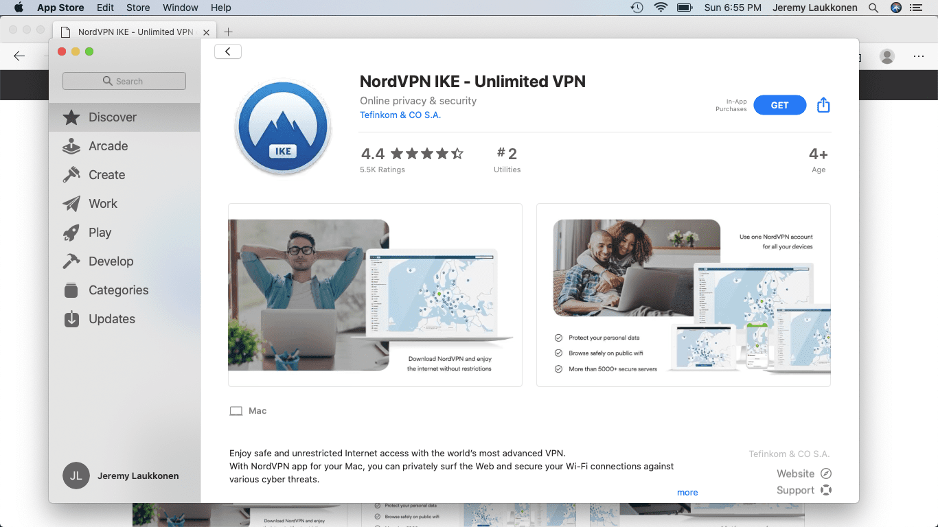 A screenshot of a VPN on the App Store.