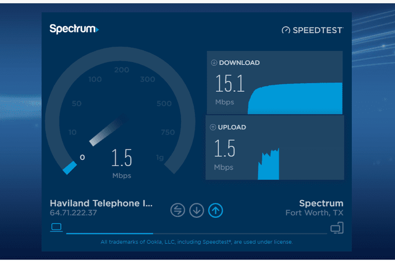 spectrum/charter internet speed test