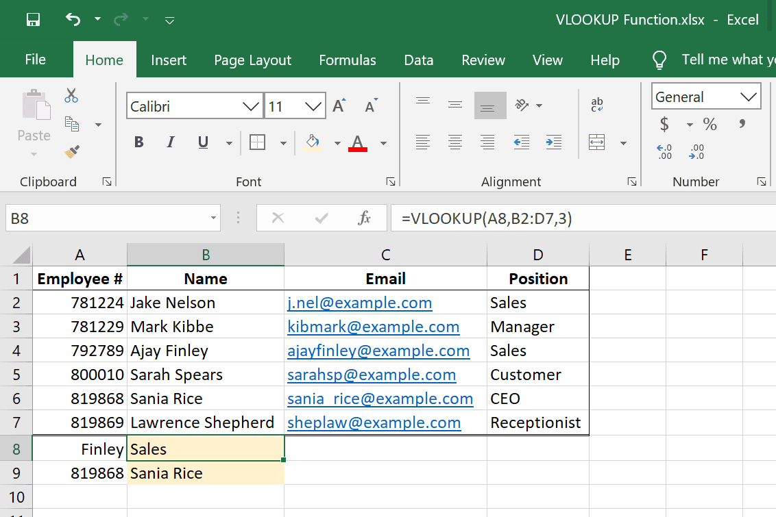 VLOOKUP Excel function examples