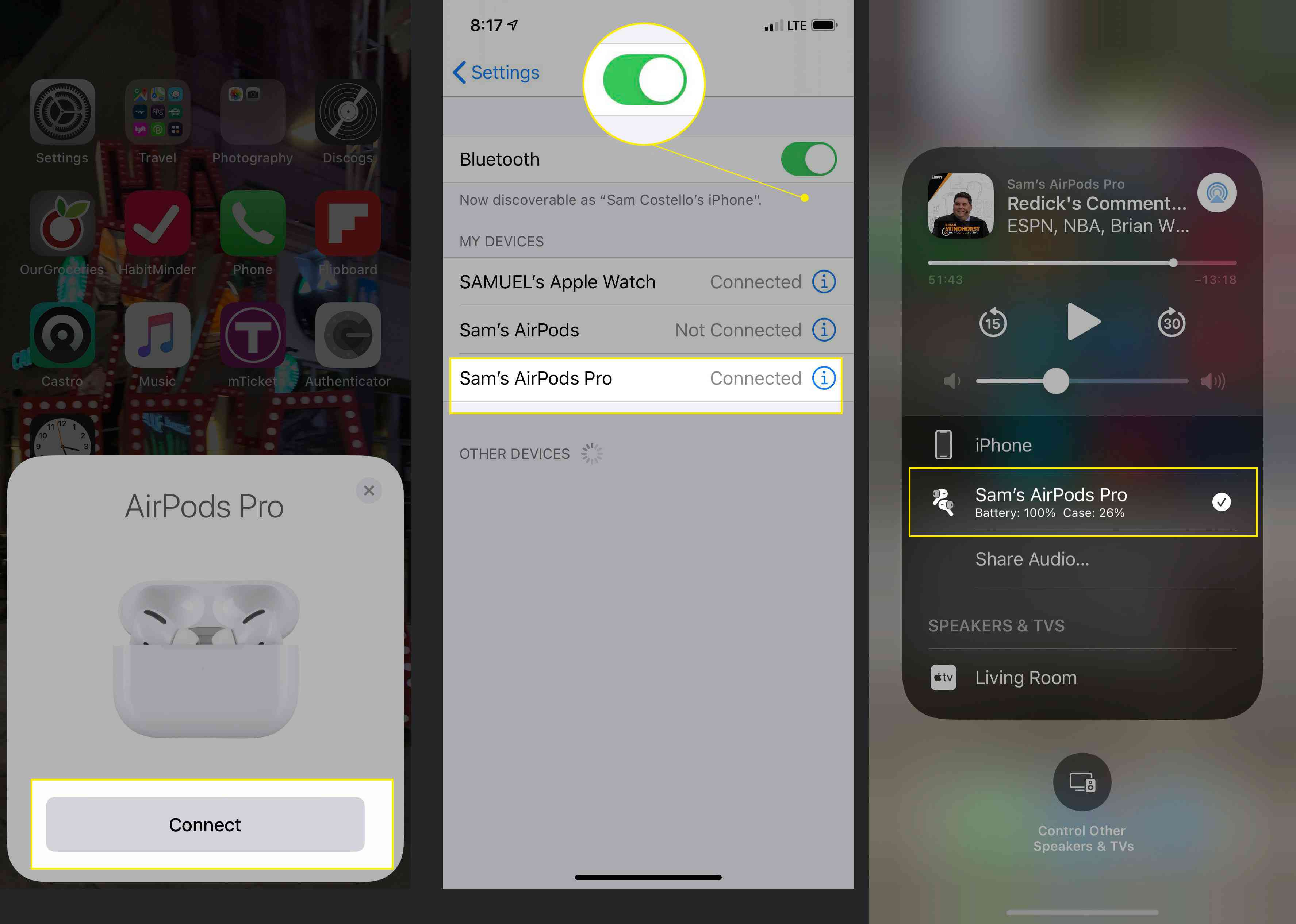 Pairing AirPods Pro with an iPhone with