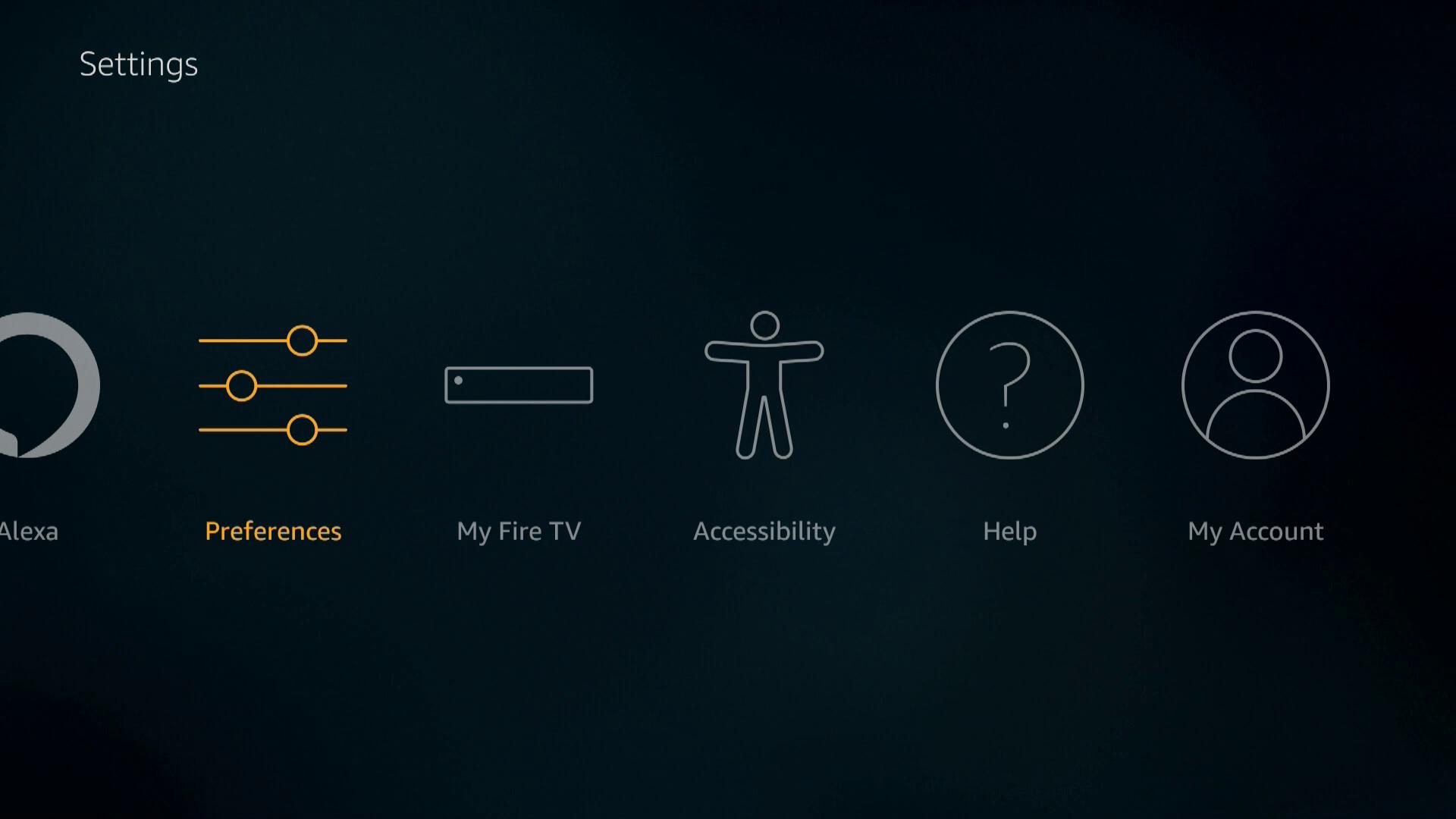 A screenshot of Firestick preferences.
