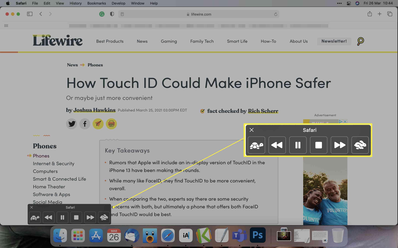 Siri Spoken Content control bar open within Safari web browser