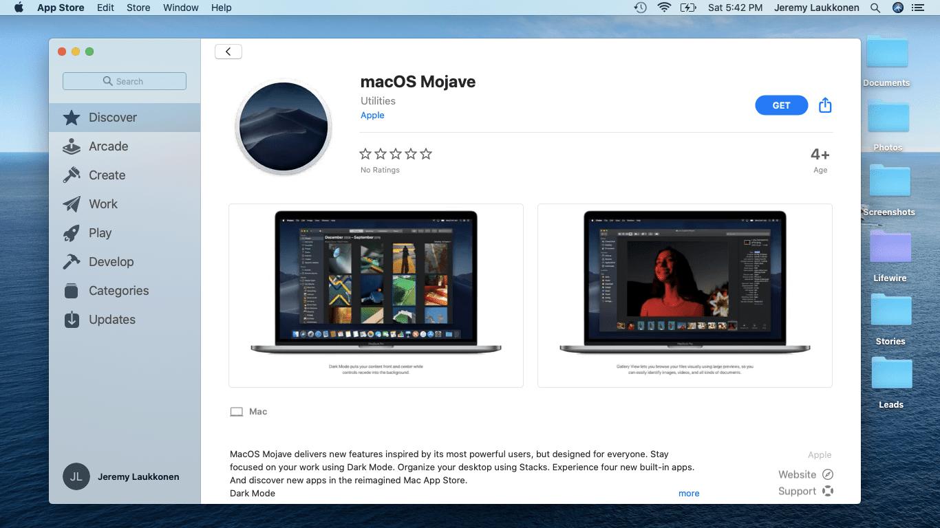 A screenshot of downgrading macOS.