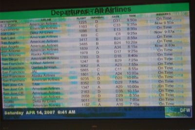Screen burn in on monitor in airport
