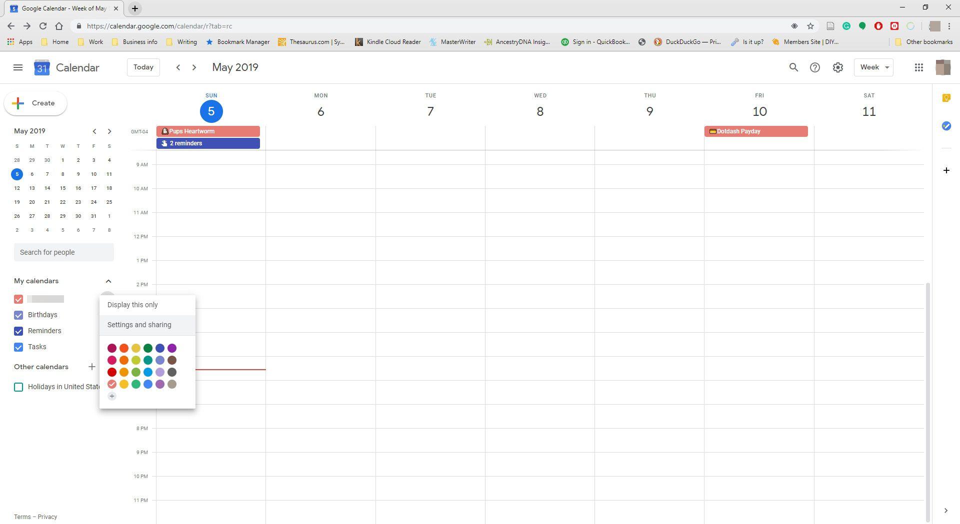 Screenshot of Google Calendar settings