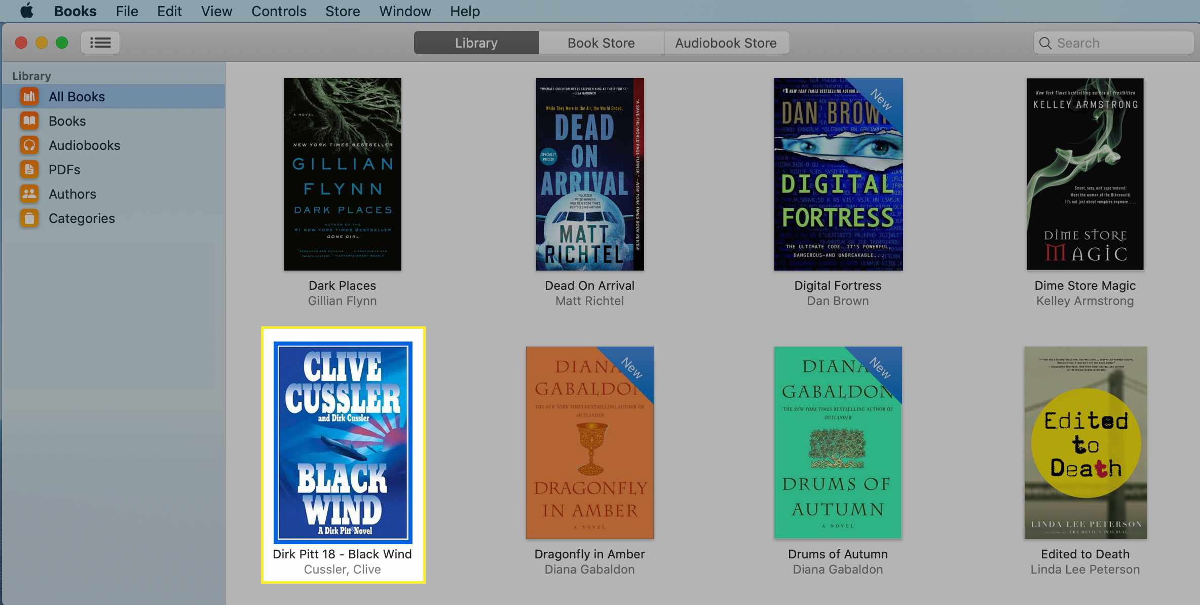 A book selected in the Books app on a Mac