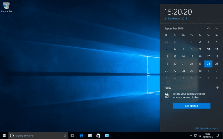 The Windows 10 desktop.