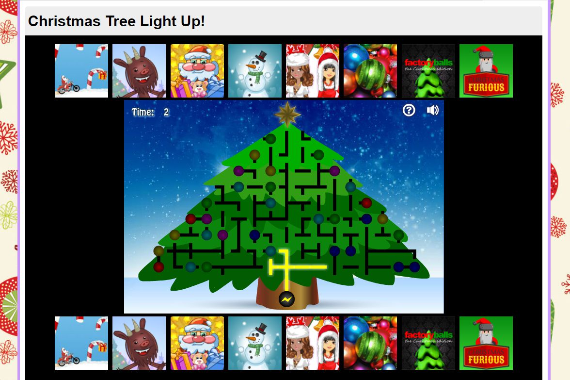 A screenshot of the game Christmas Tree Light Up