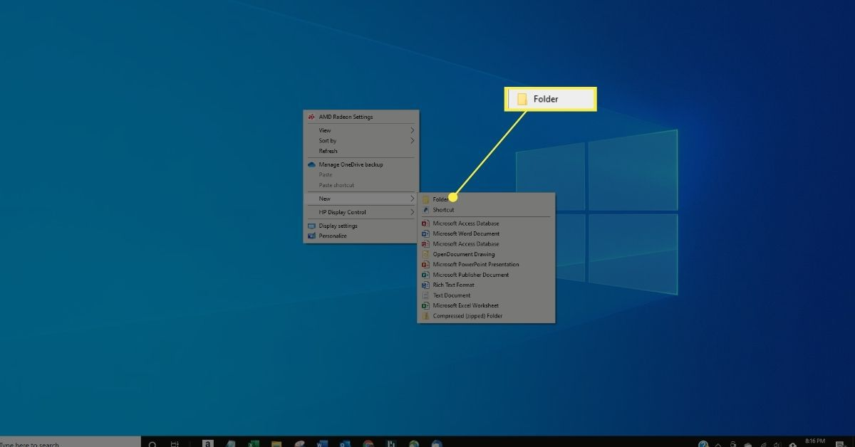 New > Folder in Desktop right-click menu.
