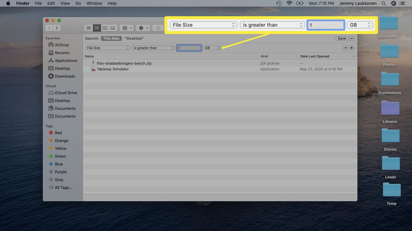 A screenshot of a Finder file size search on macOS.