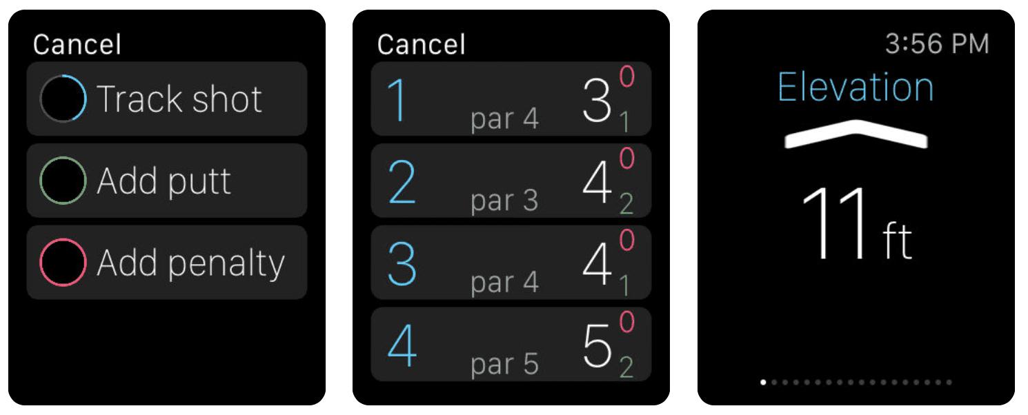 Golf Pad GPS watch screens
