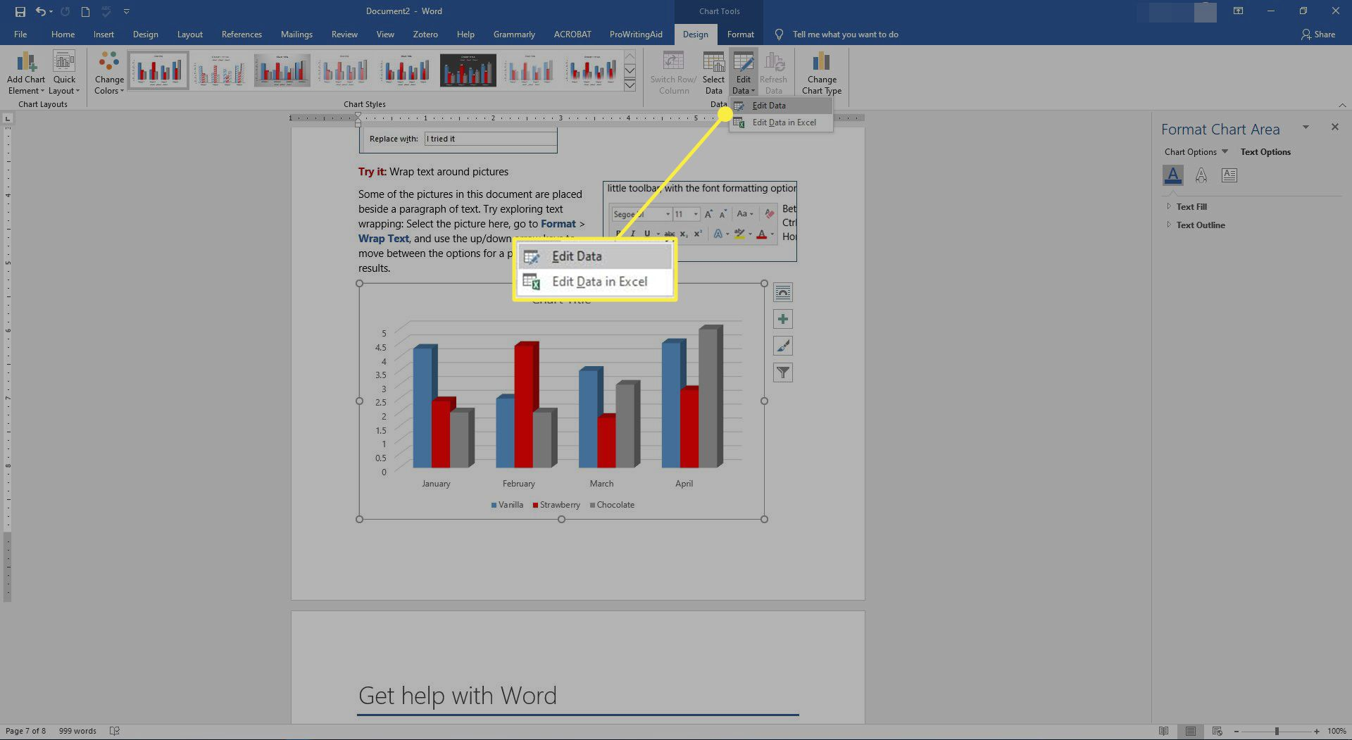 The Edit Data and Edit Data in Excel options