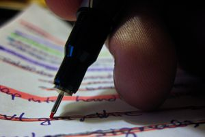 Highlighter striking lines through text