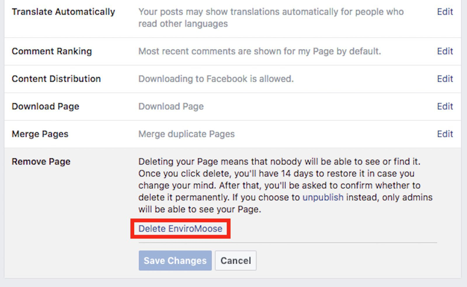 How to delete a facebook page a screenshot of facebook deleting ccuart Image collections