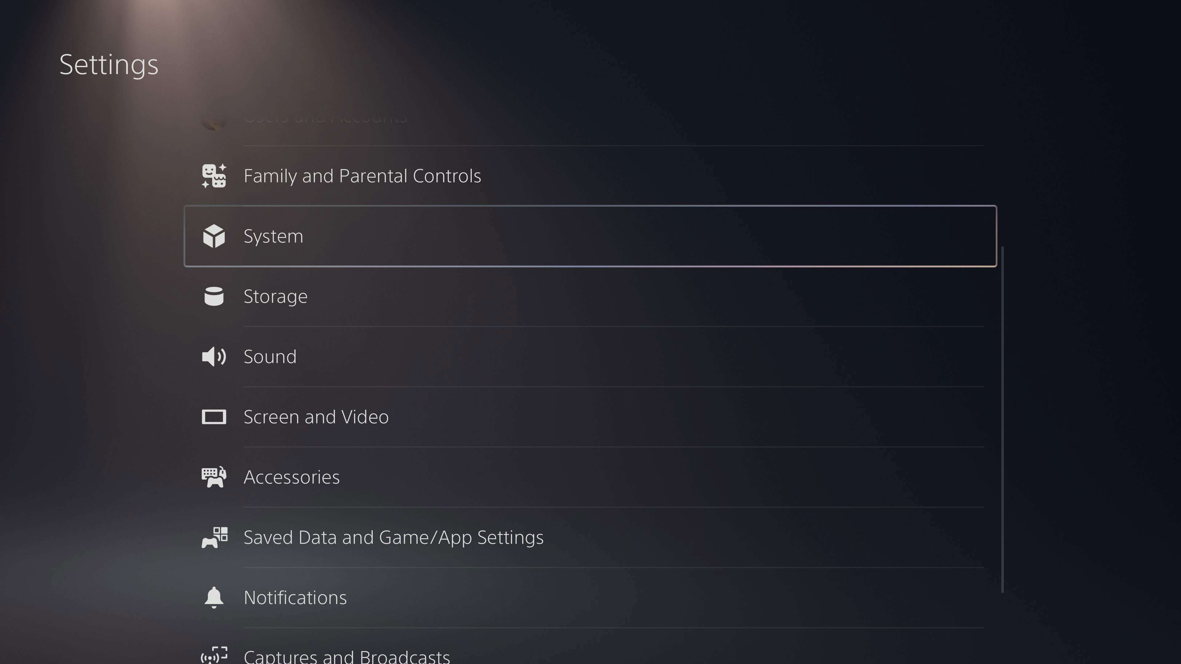 System in PS5 Settings