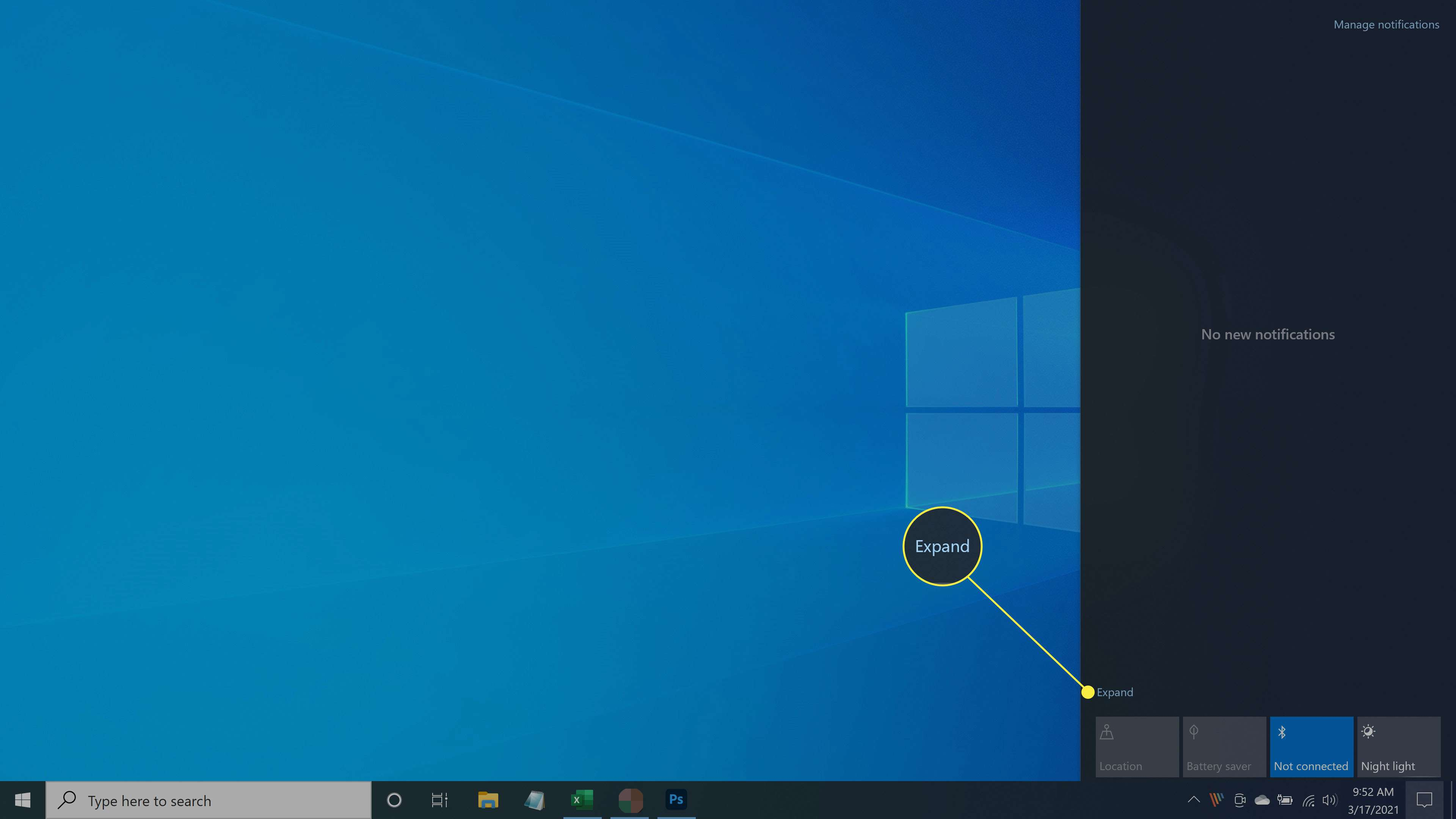 Windows 10 desktop with Action Center open.