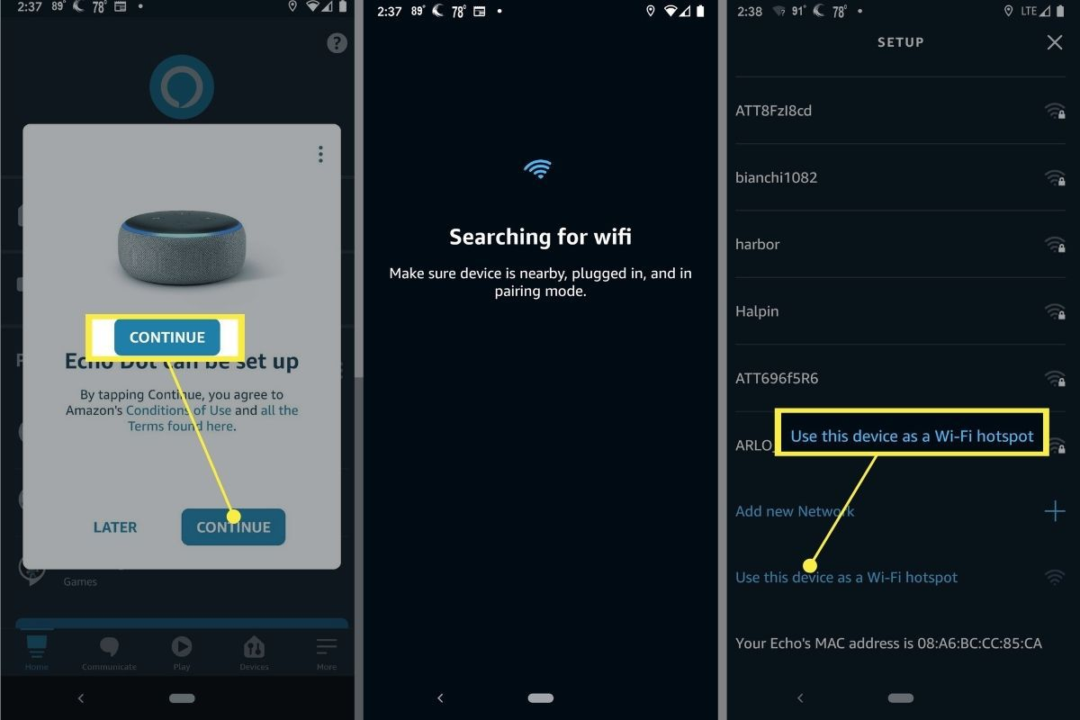Adding an Echo Dot to Wi-Fi connection.