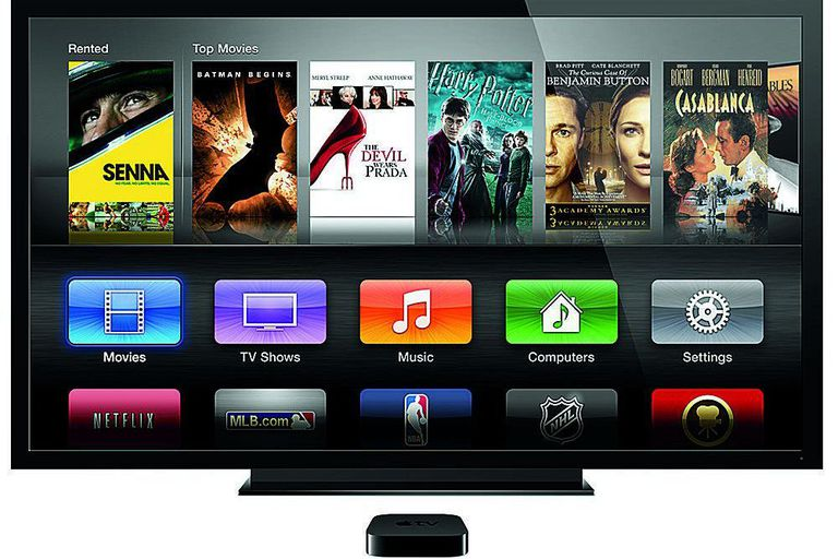 Apple TV at the base of a tv showing the apple tv 2 native apps