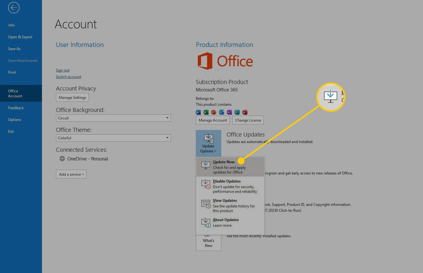 Office Account screen with Update Now button highlighted