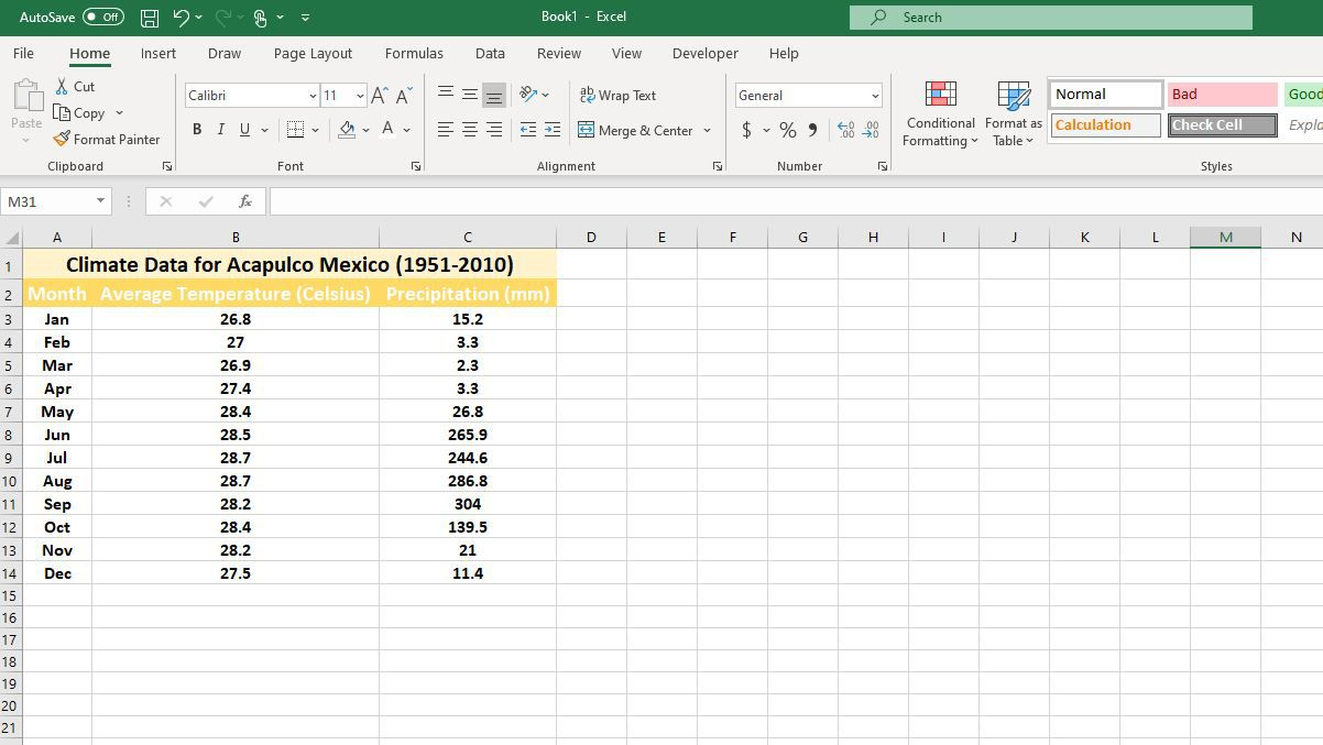 Three columns of data in Excel
