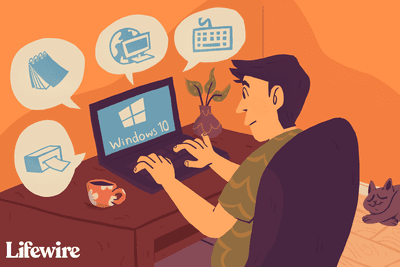 Illustration of a person using a Windows 10 laptop with various peripherals in speech bubbles around the screen