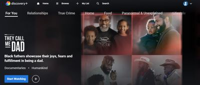 Discovery Plus home page as shown on a PC.