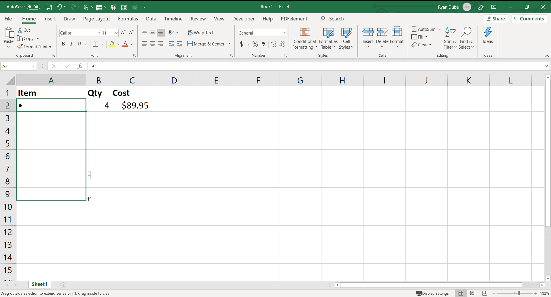 Screenshot of filling cells with bullet points in Excel