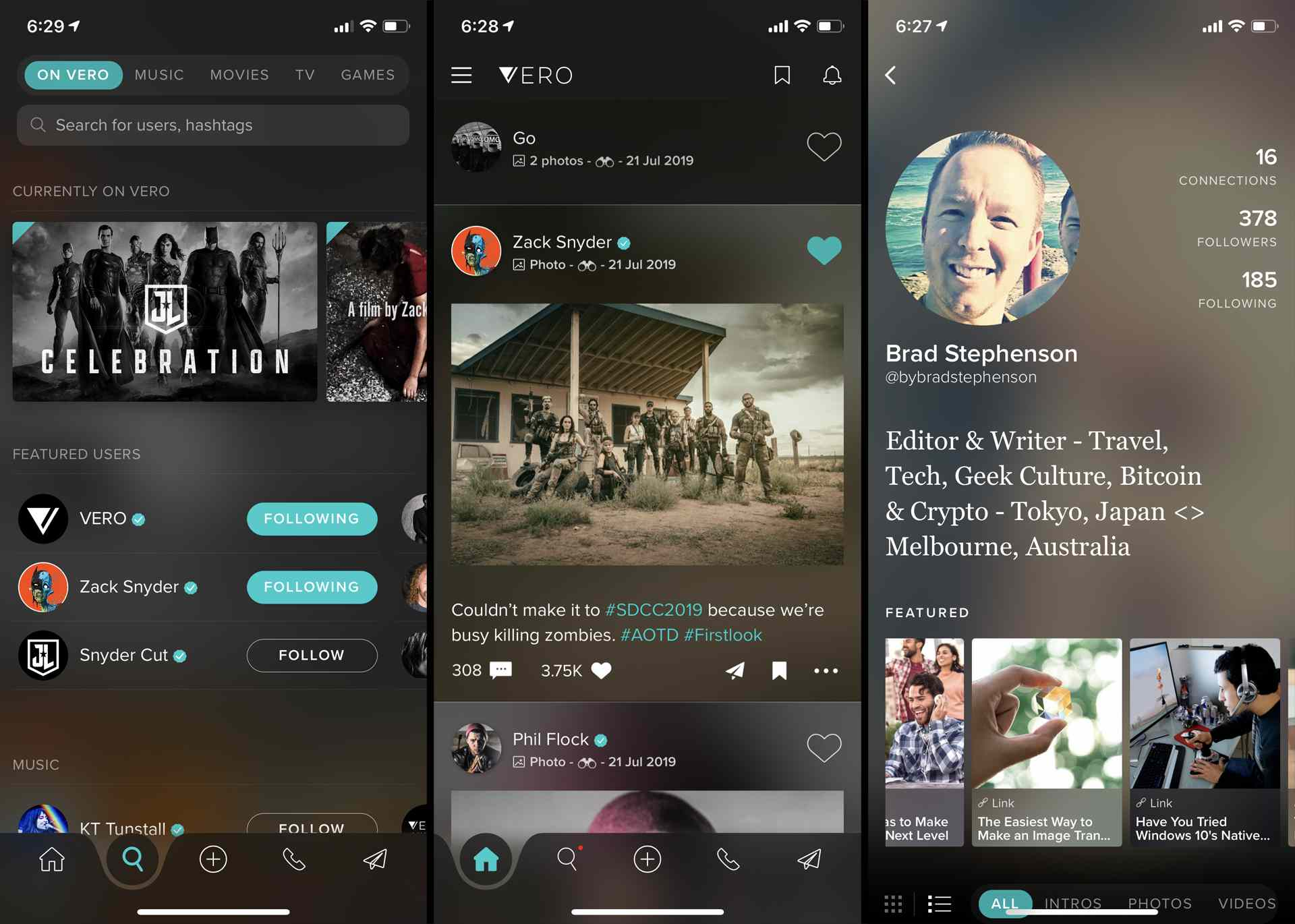 Vero social media app on iPhone.
